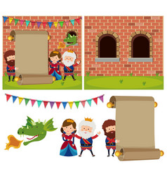 Banner template with people at the castle vector