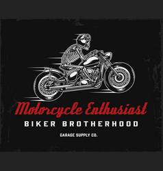 biker club vintage label vector image