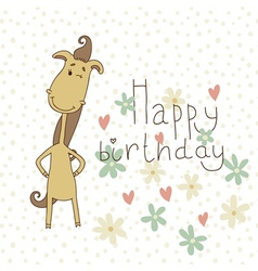 Birthday card with a cute horse vector
