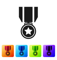 black medal with star icon isolated on white vector image