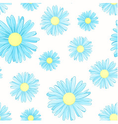 Blue daisy chamomile flowers seamless pattern vector