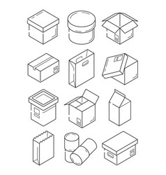 box outline symbols paper wooden or carton export vector image