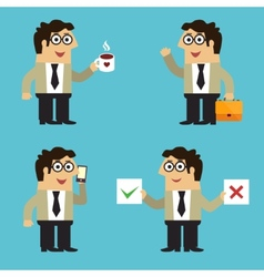 Business life employee poses vector image