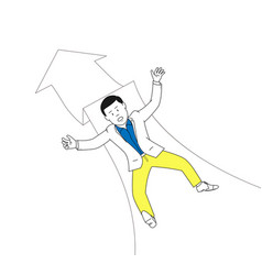 Businessman falling on down arrow vector