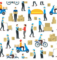 cartoon delivery workers background pattern on a vector image