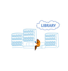 casual man sitting on couch in library student vector image