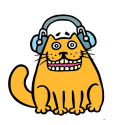 cheerful orange cat in headphones vector image