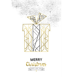 christmas and new year abstract gold line gift box vector image