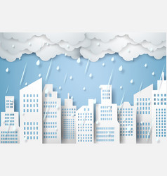 cityscape with rain rainy season paper art style vector image