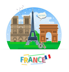 Concept of travel or studying french vector