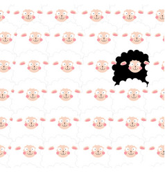 cute cartoon funny lamb in seamless pattern vector image