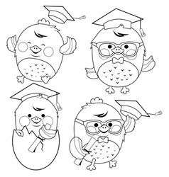 cute chick students with graduation hats vector image