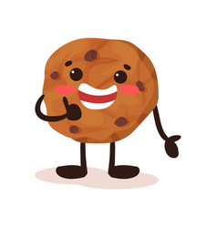 cute cookie with smiling face funny humanized vector image