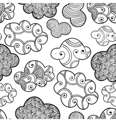 Cute hand drawn seamless pattern with clouds vector