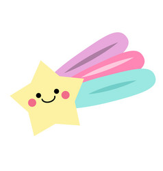 Cute kawaii falling star vector