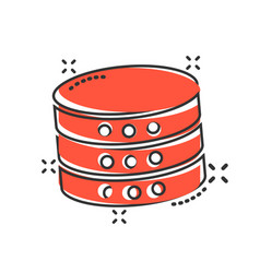 data center icon in comic style server cartoon on vector image