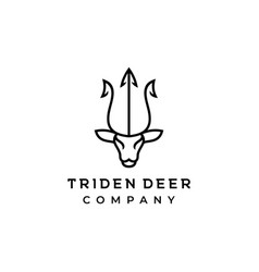 deer and trident line art logo icon design vector image