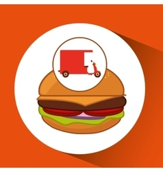 Delivery motorcycle fast food burger vector