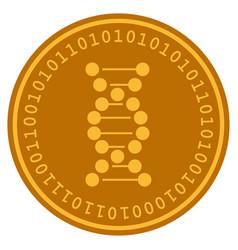 Dna molecule digital coin vector