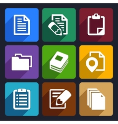 Documents and folders flat icons set 19 vector image