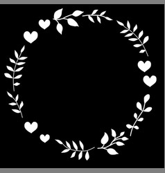 Doodle heart and leaf circle frame on a black vector