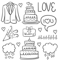 doodle of element wedding hand draw style vector image