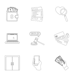 E-commerce set icons in outline style Big vector image