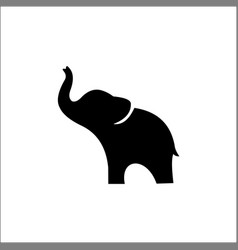 Elephant black silhouette isolated on white vector
