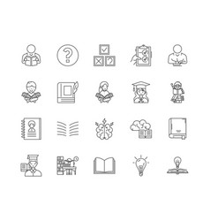 exam line icons signs set outline vector image