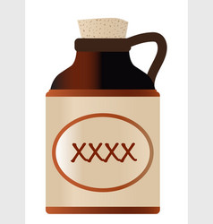 Extra strong xxx beer stone bottle with cork and vector