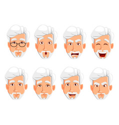 face expressions of business man with gray hair vector image