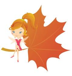 fairy on leaf vector image