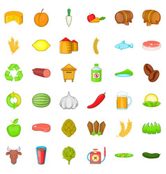 Farm equipment icons set cartoon style vector