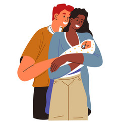Father and mother looking at newborn child vector