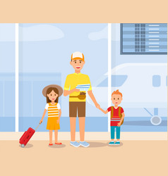 Father travel with son and daughter characters vector