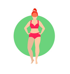 Fit woman in red underwear isolated on white icon vector