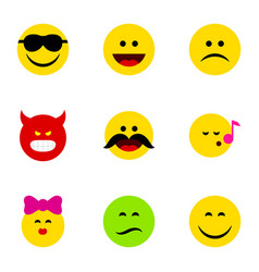 Flat icon expression set of caress smile happy vector