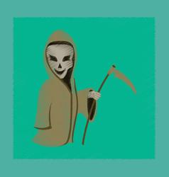 Flat shading style icon halloween death scythe vector
