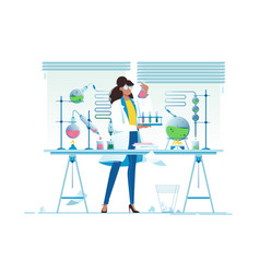 flat young beauty woman chemist with flasks with vector image