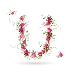 Floral letter U for your design vector