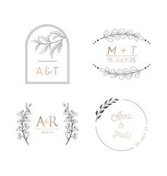 floral wedding monogram set modern minimalistic vector image