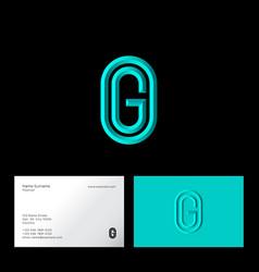 g letter initial azure letter oval vector image
