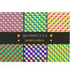 Geometric rhombus patterns set vector