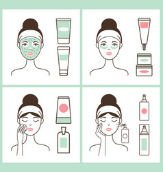 Girl applying creams posters vector