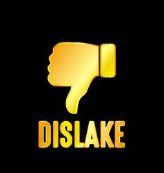 golden dislike emblem with black background vector image