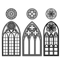 Gothic windows of cathedrals vector image