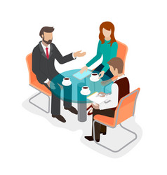 group of people office staff at the round table vector image