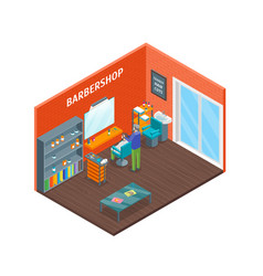 haircut room interior with furniture isometric vector image