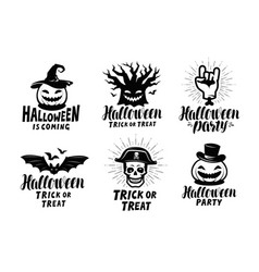 halloween of labels or icons holiday symbol vector image