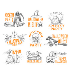Halloween sketch icons for holiday party vector